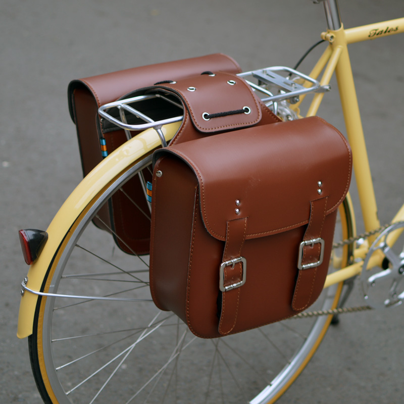 retro bicycle wagoncovered with mountain bike the rear rack packs the electric motorcycle leather saddle bags one pair.