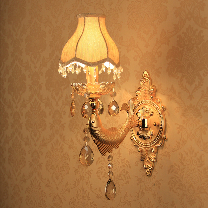 Gold Wall Sconce Decoration Vintage Crystal Wall Light Surface Mounted Crystal Wall Lamp for Bedroom Lights Fabric Shades Lamp