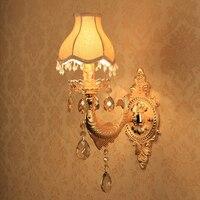 Oro Riparo Della Parete Decorazione Vintage Crystal Wall Light Surface Mounted Lampada Da Parete di Cristallo per Camera Da Letto Luci Tonalità del Tessuto Lampada