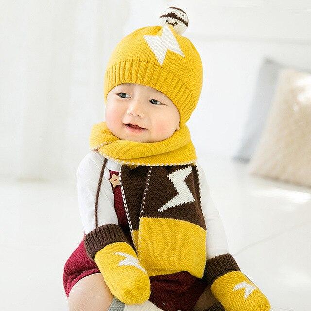 be45096185c KACAKID Unisex Winter Baby Hat Scarf Gloves 3 Pieces Set Cute Star Pattern  Kids Children Baby