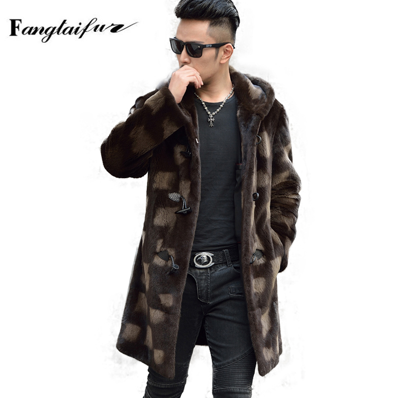 Mink-Fur-Coat Real Velvet X-Long with Hood Print Cool Men's Smart-Causal Fang Import