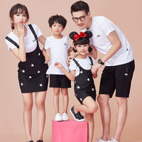 2017 Family Set Cotton T Shirt Overall Dress 2pcs Mother Daughter Dresses Clothes Dad Son O