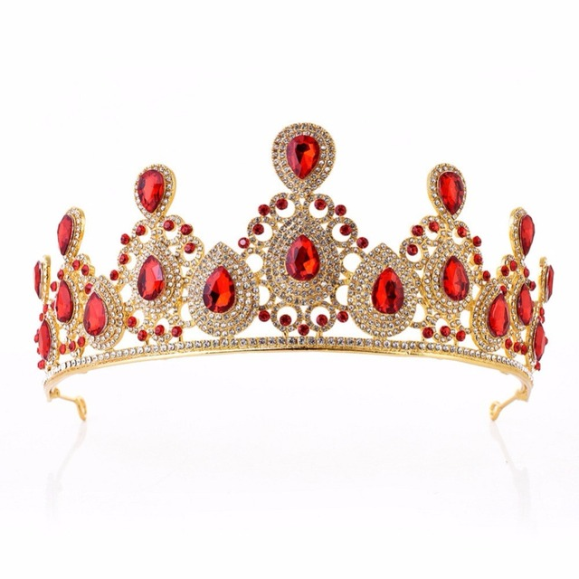 Baroque Colorful Drop Crown Tiara with Rhinestones Headband Crystal  Princess Bridal Headpiece Wedding Crown Hair Jewelry 199bea4ec6b4