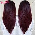 Brazilian Ombre Human Extensions Two Tone Burgundy 7a Brazilian Virgin Hair Straight 3pcs/Lot T1B 99J Human Hair Weave Bundles