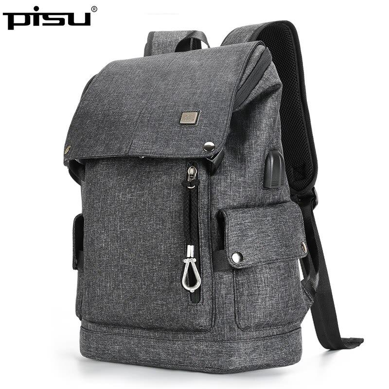 PISU новый рюкзак Для мужчин s Черный рюкзак моды usb зарядка Водонепроницаемый рюкзак наушники Для мужчин подходит для 15,6 дюймов ноутбука
