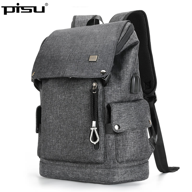 PISU new backpack mens black fashion backpack usb charging waterproof backpack headphones Men fit for 15.6 Inch Laptop