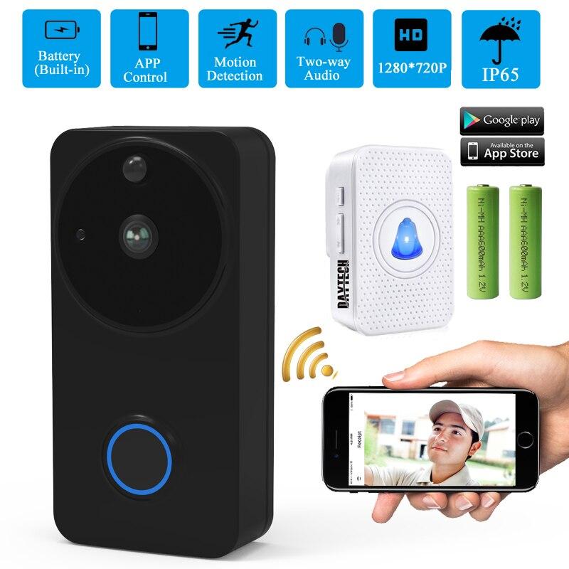 DAYTECH Video Doorbell  WiFi Door Bell Monitor Alarm Door Phone 1080P  IP Camera Battery Outdoor Waterproof IOS Android(VD02BL)