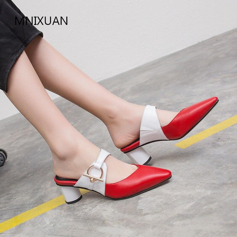 MNIXUAN Classics genuine leather women pumps shoes