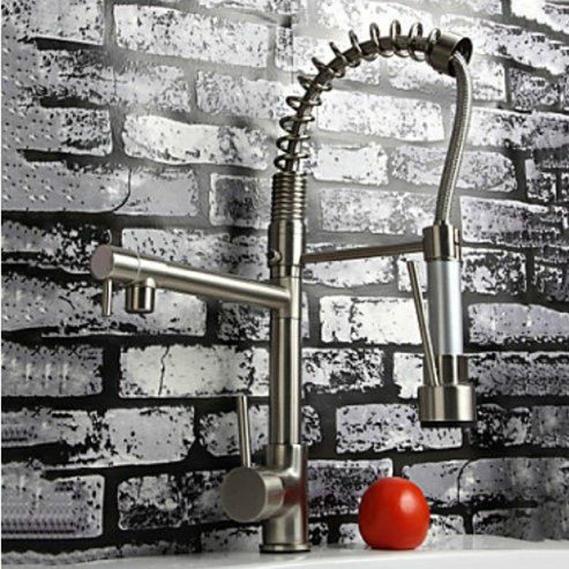 Brushed Nickel Pull Down Sprayer Kitchen Sink Faucet Deck Mounted Hot and Cold Water Swivel Spout Kitchen Mixer Tap brushed nickel double handles spray stream brass water kitchen swivel spout pull out vessel sink deck mounted mixer tap faucet