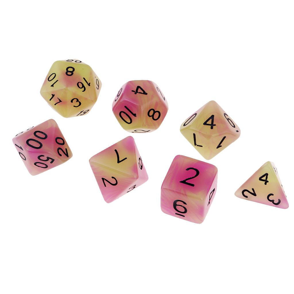 7 Pieces Gem Resin Multi-Sided Dice Polyhedral Dice Set D4 D/&D TRPG Cup Game