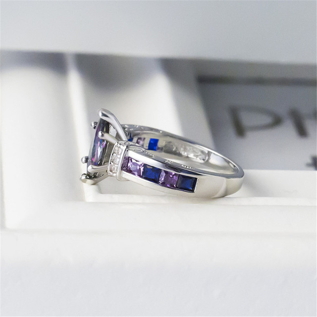 Marquise Shape Purple 925 Silver Ring 4