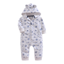Baby Rompers Winter Thick Warm fleece Hoodies baby girls boys Jumpsuit newborn toddle clothing CottonOverall kids outwear 9-24M недорого