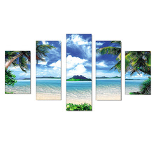 DIY Diamond Painting Sea Beach Scenery Embroidery Full Round Landscape Mosaic Coconut tree Multi picutre