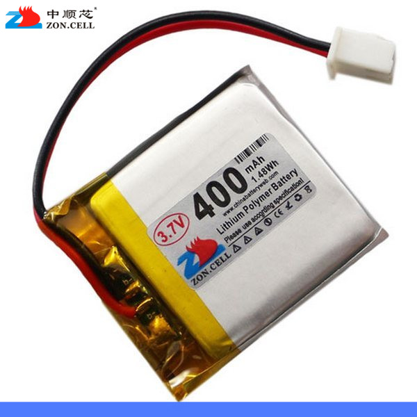 In <font><b>403035</b></font> 400mAh <font><b>3.7V</b></font> Bluetooth MP3 sound card watch lithium polymer battery 453035 Rechargeable Li-ion Cell image