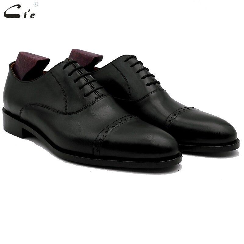 Cie メンズドレスシューズレザー黒メンズ結婚式の男性オフィス靴本物のカーフレザーアウトソール正式なオフィス革ハンドメイド号 10  グループ上の 靴 からの 正式な靴 の中 1