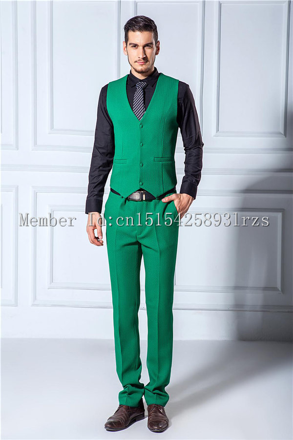 Custom Design One Button Green Groom Tuxedos Notch Lapel Groomsmen ...