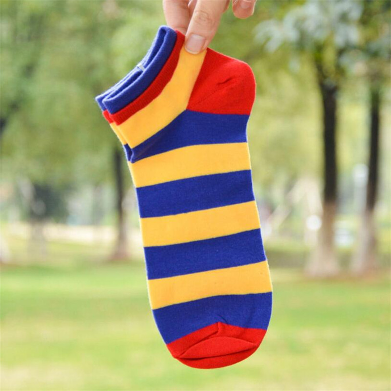 Hot sale! socks men cotton spring summer and autumn striped cotton colorful dress mens and male short socks