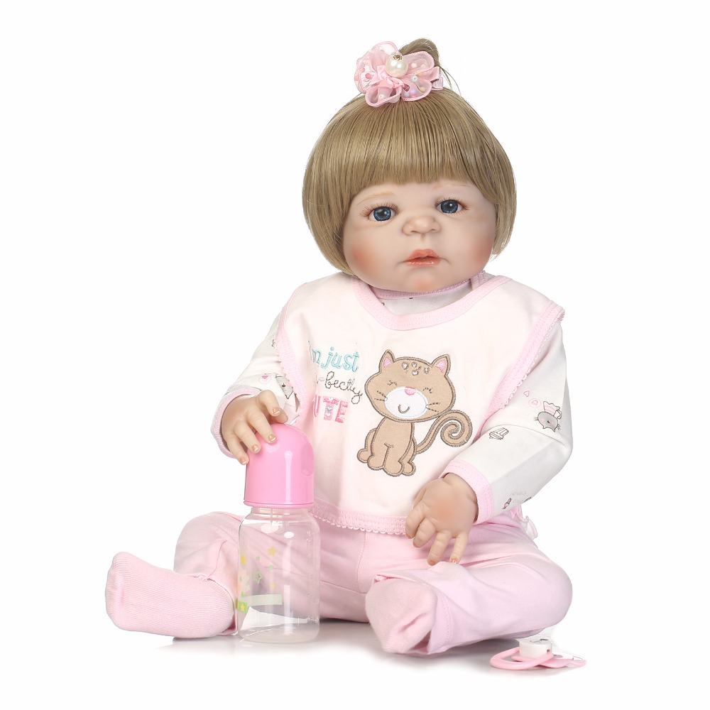55cm Full Silicone Reborn Baby Girl Doll Toys Like Real 22inch Newborn Babies Princess Doll Birthday Gift Xmas Present Bathe To 55cm full silicone body reborn baby doll toys like real 22inch newborn boy babies toddler dolls birthday present girls bathe toy