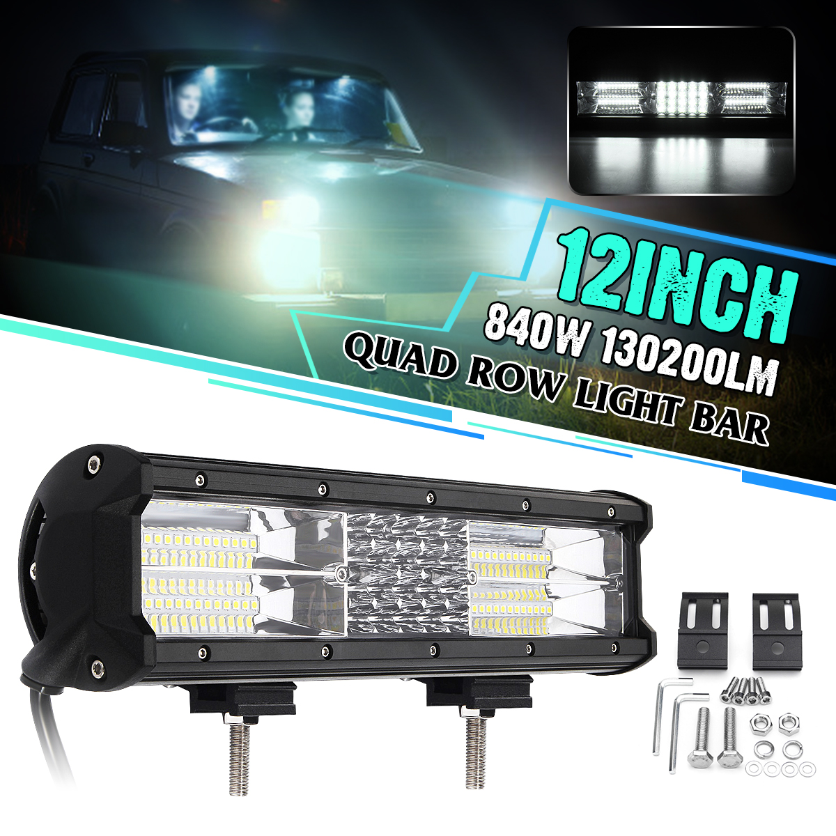 12 Inch 68LED Work Light Bar 840W Flood Spot Combo Driving Lamp Waterproof LED Work Light For SUV ATV Offroad 4WD Car Truck 32 inch 1070w 5d curved led work light bar spot flood combo light bar work light offroad driving lamp suv atv car truck