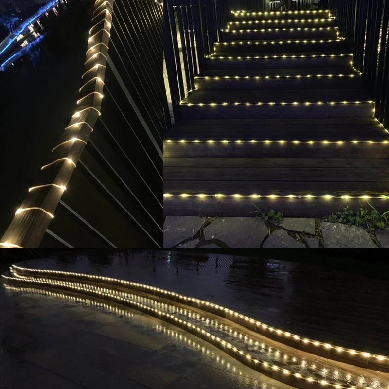 the longest flexible fence patio lights 10 100m led christmas garland lights outdoor for roof street tree garden light decor
