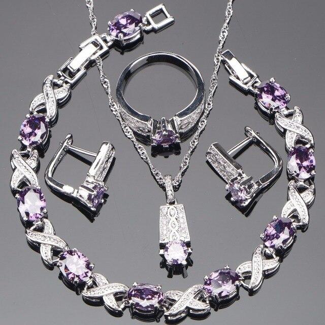 Braut Zirkonia 925 Sterling Silber Schmuck Sets Ohrringe Für Frauen Armband Anhänger Ring Halskette Set Schmuck Geschenk-box