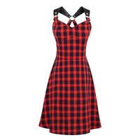 Sisjuly 2017 Summer Gothic Female Party Dresses Red Sexy Plaid Dresses Hollow Out Backless Dress Summer