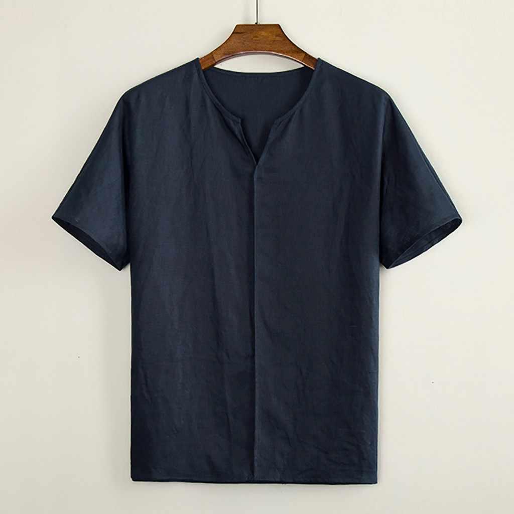 男性のカジュアルブラウスシュミーズリネンシャツルーズ V ネックトップス半袖シャツファッションメンズ服 camisas masculina 2019