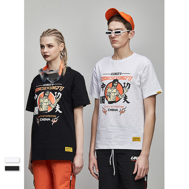 Casual Men's T Shirts 2019 Summer Chinese Kung Fu Bruce Lee print couple  100% Cotton Short Sleeve Mens Tees Tops