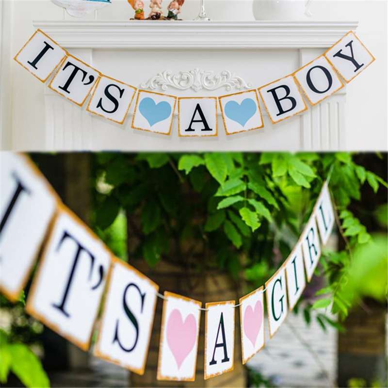 For Boy Girls Rustic Its A Boy Girl Baby Shower Photo Props Bunting Banner