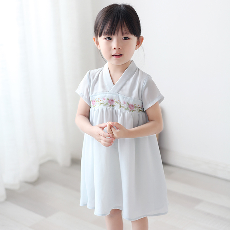 Print Flower Kids Cosplay Clothes Baby Girls Chinese Style Dress Summer Short Sleeve Hanfu Clothing Dance Performance Costume