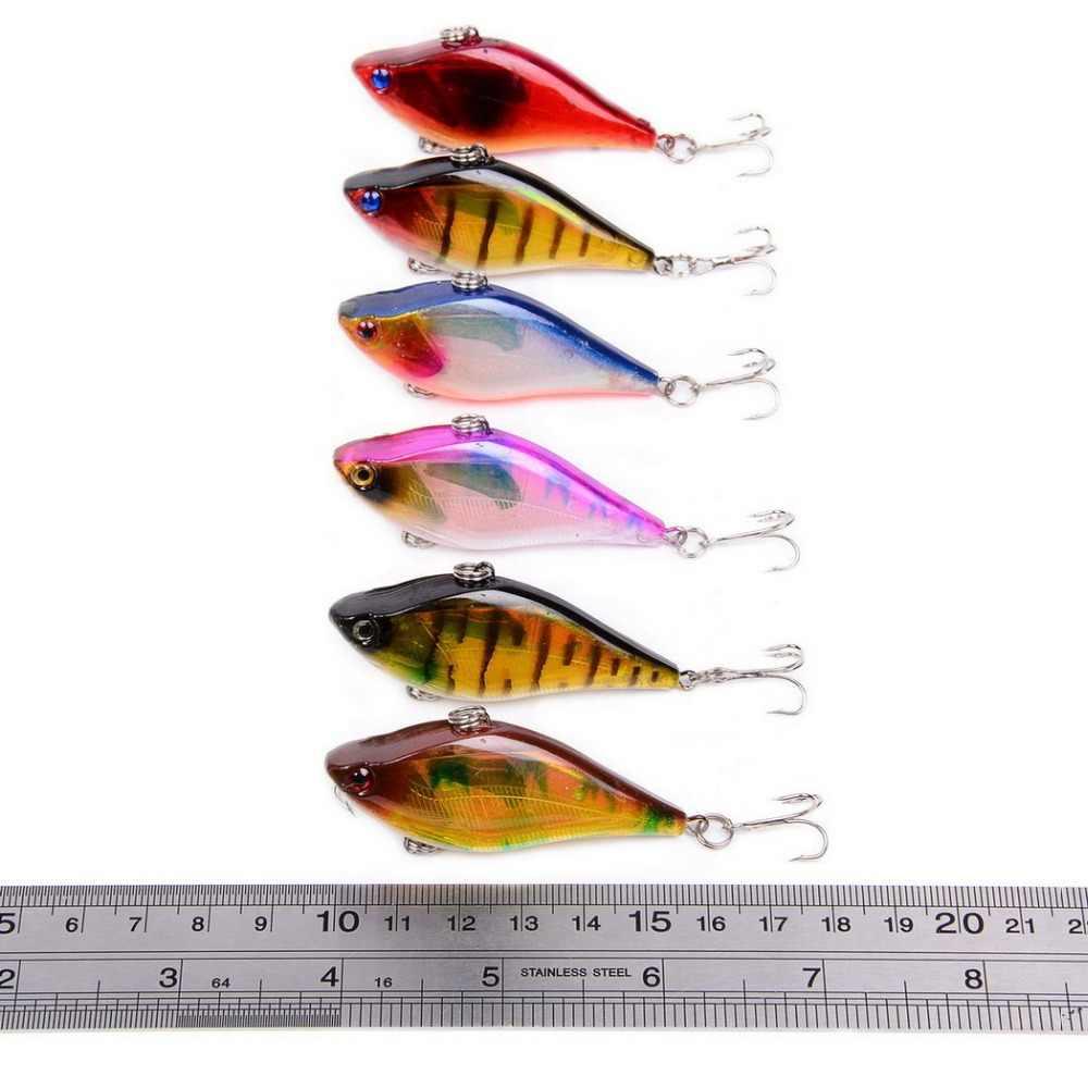 1 قطعة 6 سنتيمتر 13.1 جرام VIB الصيد إغراء بدون شفة فخ cranbait الطعم الثابت غرق باس 6 اللون باس الطعم الصيد معالجة