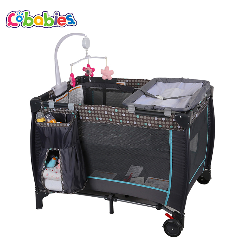 New Portable Baby Crib Multi-functional Folding with Diapers Changing Table Travel Child Game Beds For home hang