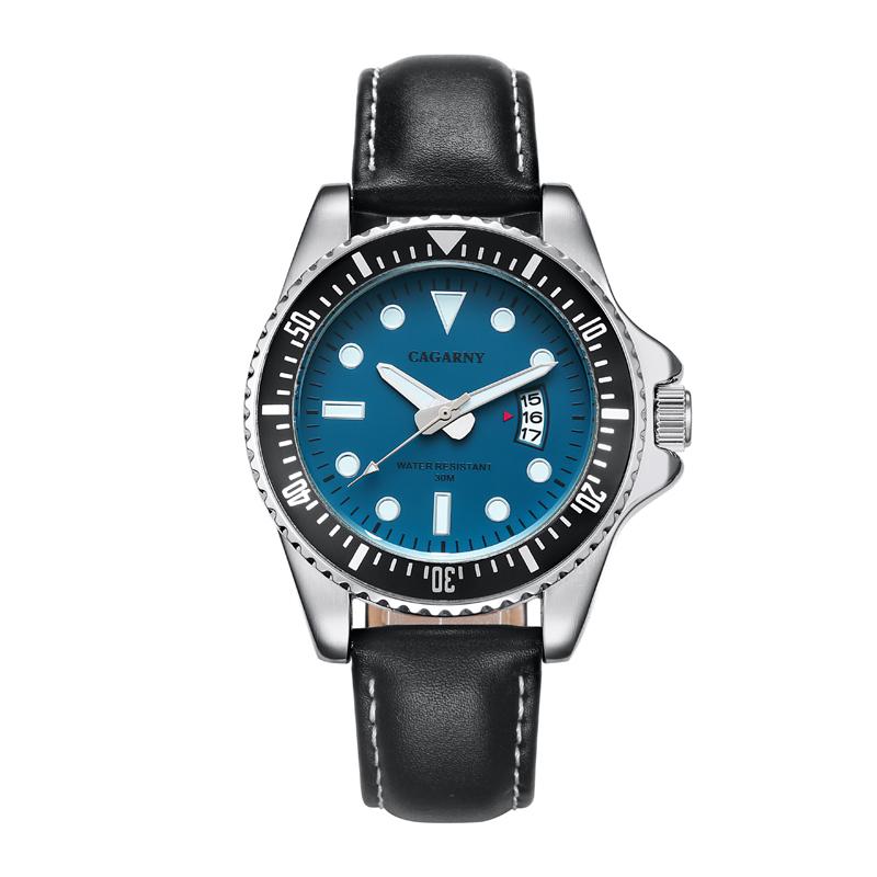 Prix pour Marque de luxe Cagarny Rôle Quartz Montre Hommes Mode Hommes Montres Véritable Bracelet En Cuir Date Sport Militaire Reloj Hombre Nouveau