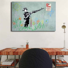 Banksy Boy With Gun Graffiti Canvas Painting Print Bedroom Home Decor Modern Wall Art Oil Poster Picture Framework HD