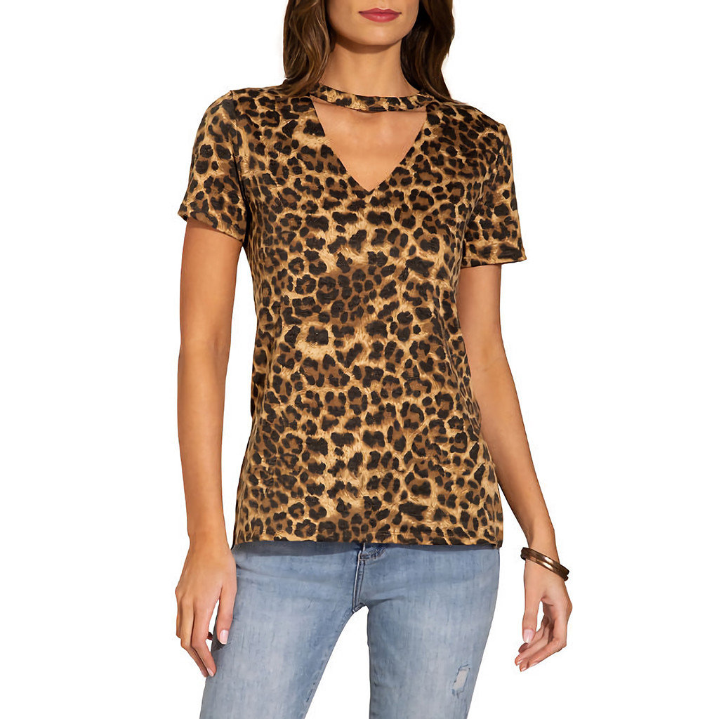 Fashion women's V-neck short-sleeved shirt leopard print T-shirt Tops  t shirt with print women tshirt with print women sexy #4
