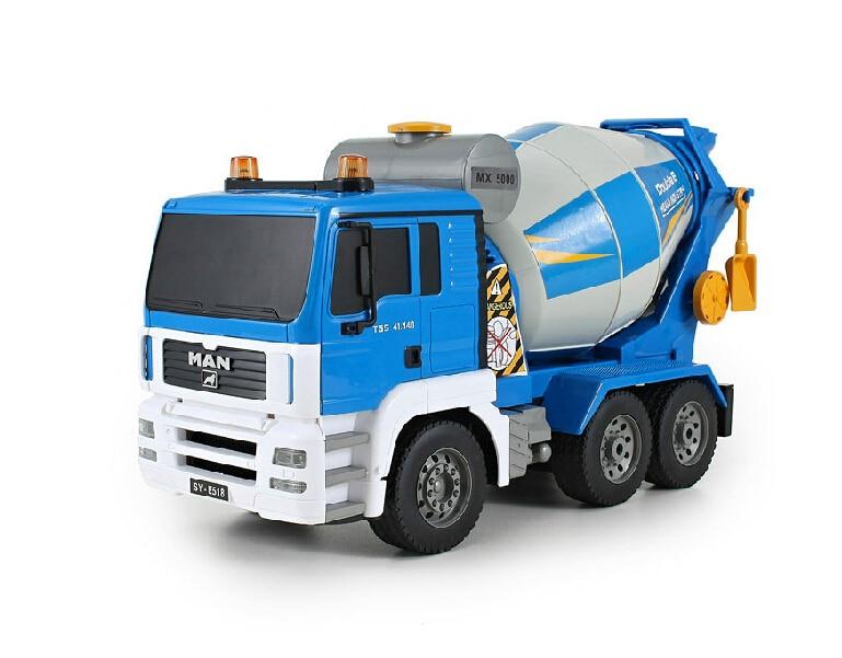 Livraison gratuite Double aigle sans fil télécommande camion mélangeurs grand rechargeable enfants jouet voiture ciment béton pompe camion