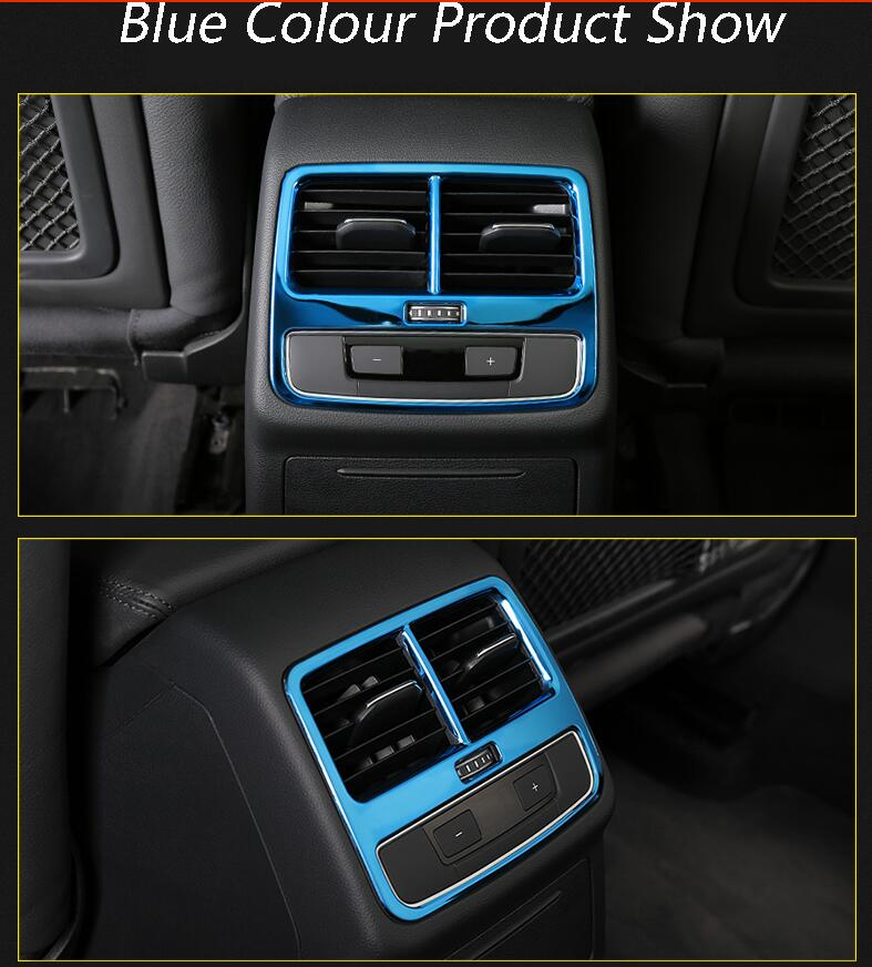 Car Rear Air Conditioning Outlet Frame Decor Back AC Vents Trim Blue Black stainless steel Stickers
