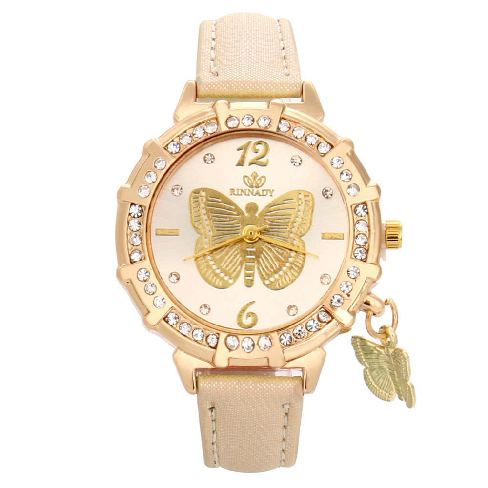 New Women Quartz Watches Butterfly Rhinestone Pendant Leather Wrist Watch Casual Golden Dial Ladies Watch Montre Femme Clock 999