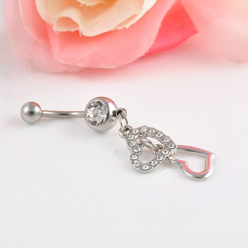 High quality double hearts rhinestone crystal medical for Body jewelry cheap prices