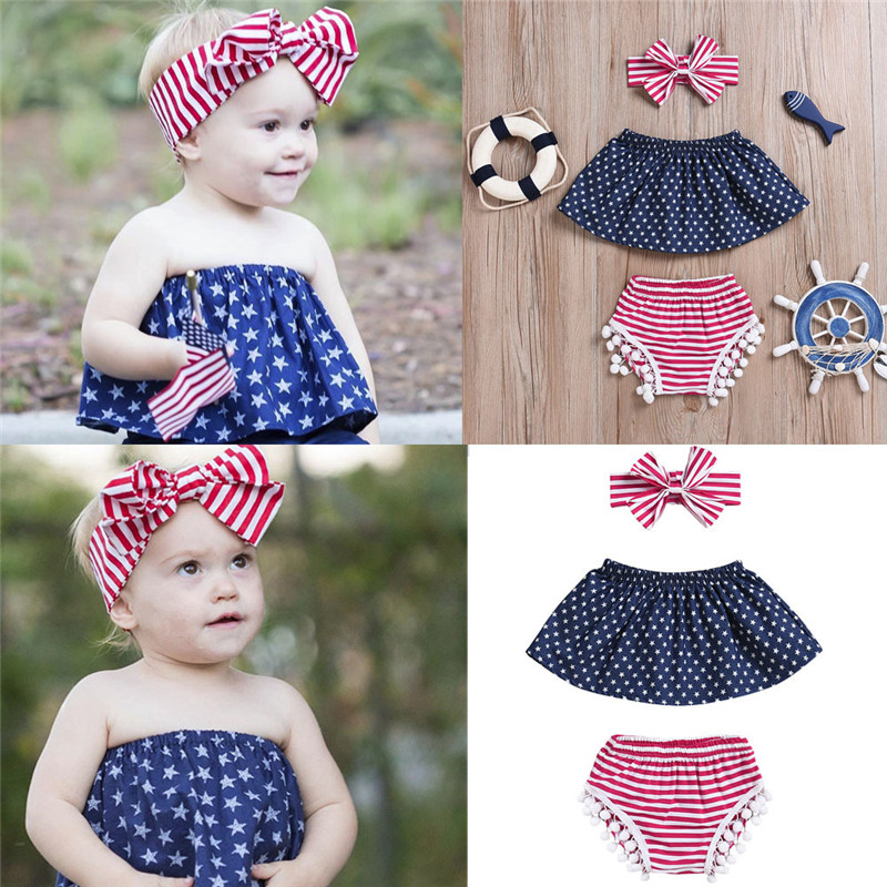 Baby 3Pcs Infant Baby Girls 4th Of July Star Tops+Shorts+Headband Outfits Set Clothes