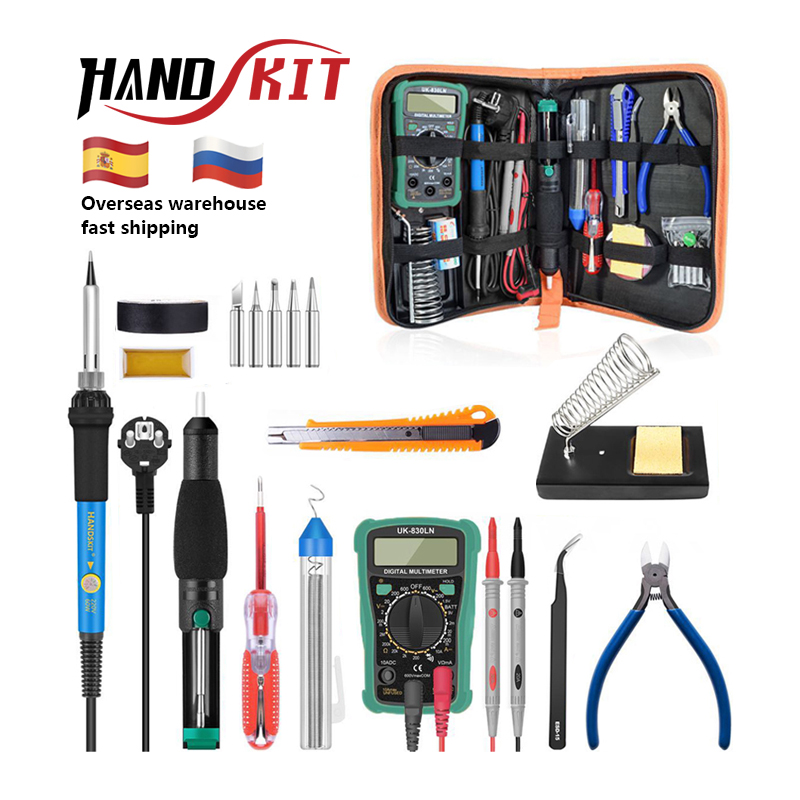 Handskit Temperature Electric Soldering Iron Kit 110V 220V 60W Soldering Iron Kit With Multimeter Desoldeirng Pump Welding Tool(China)
