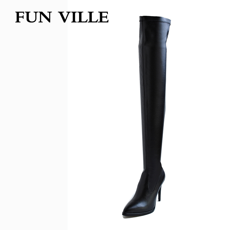 FUN VILLE 2017 New Fashion Autumn Women Over the knee Boots Stretch boots High Quality Solid Pointed toe slip-on size 34-42