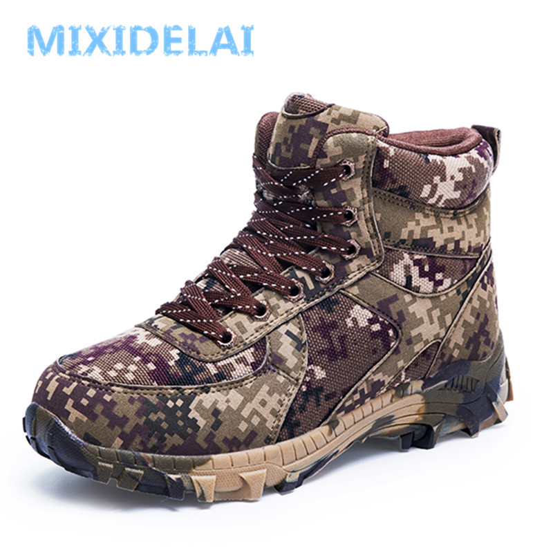 MIXIDELAI New Big Size Winter Wool Men's Boots Waterproof Men's Camouflage Military Warm Boots Men Combat Army Boots Snow Boots