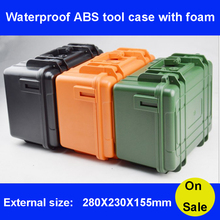 Tool case toolbox suitcase Impact resistant sealed waterproof ABS case Photographic box camera case with pre-cut foam ip67 waterproof shockproof black compressive durable toolbox with full cubes foam inserts