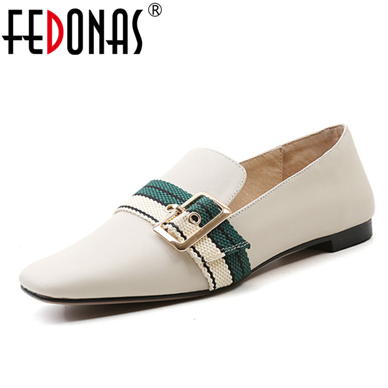 FEDONAS New Genuine Leather Flats Heels Shoes Woman Buckles Round Toe Casual Shoes Ladies Loafter Flats Shoes Ladies New Shoes цена 2017