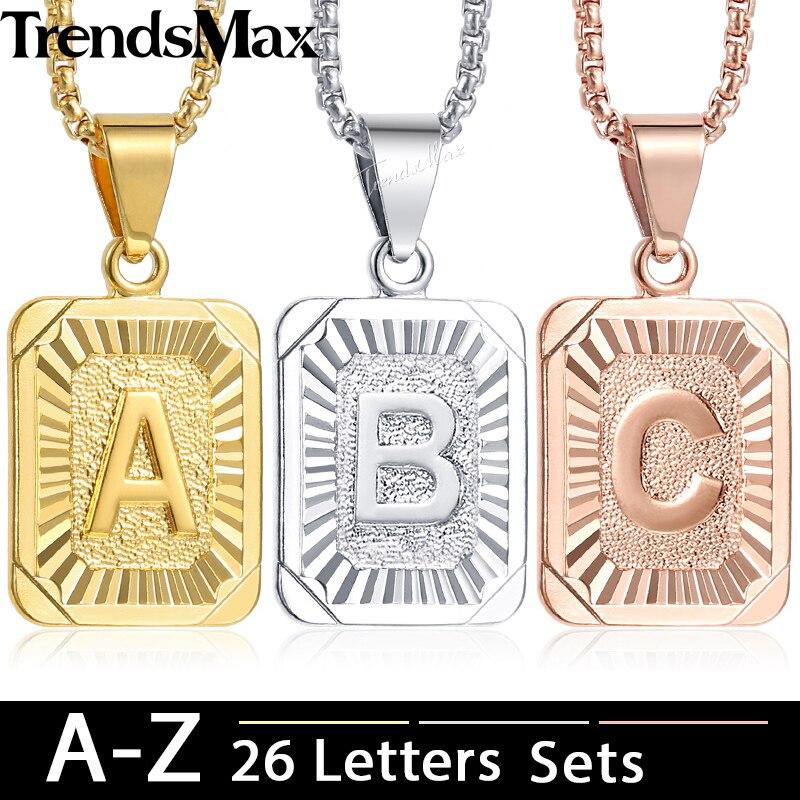 Trendsmax 26Pcs Initial A Z Letter Pendant Necklace Rose Gold Silver Capital Letter Charm Pendant For