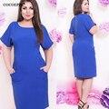 elegant blue bodycon women dress big sizes 2017 Short sleeve o-neck loose dresses plus size zipper dress casual solid  vestidos