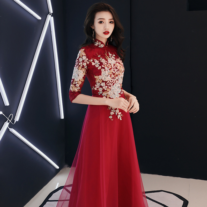 Half Sleeve Red Oriental Style Dresses Chinese Bride Vintage Traditional Wedding Cheongsam Dress Long Qipao Plus Size XS-3XL