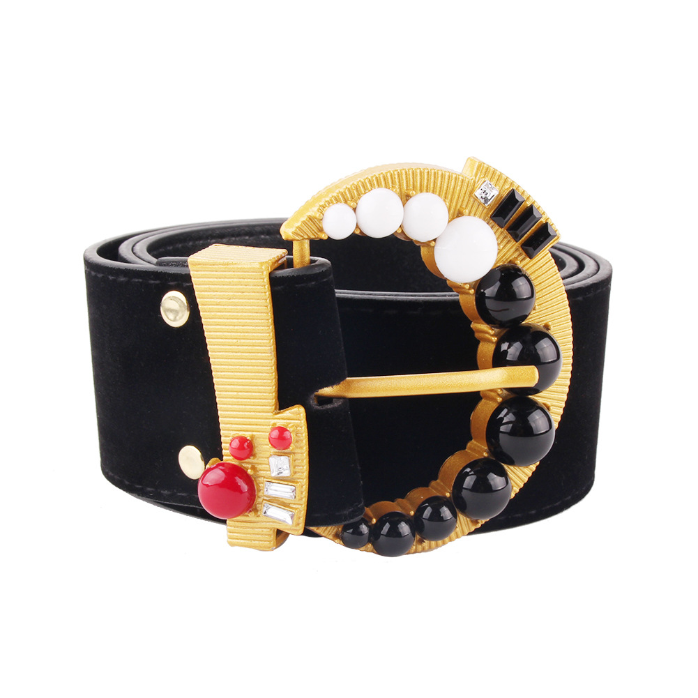 Vintage Retro Carved Metal Wide Double Buckle Belt Adjustable PU Waistband Women Elastic Belt Trendy For Jeans Straps YS144