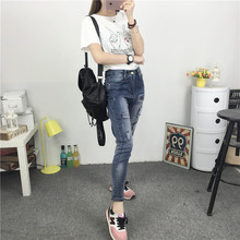 Новая коллекция весна и лето 2016 Корейский женские ноги тонкие джинсы отверстие брюки девять свободные брюки случайные Харен